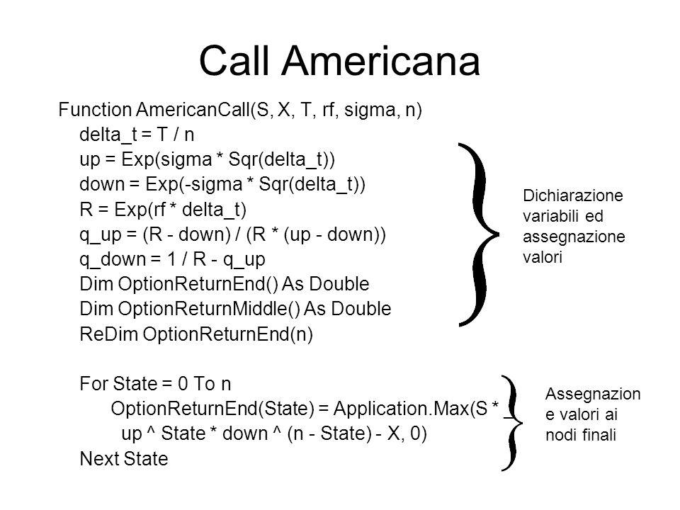 Call Americana Function AmericanCall(S, X, T, rf, sigma, n)