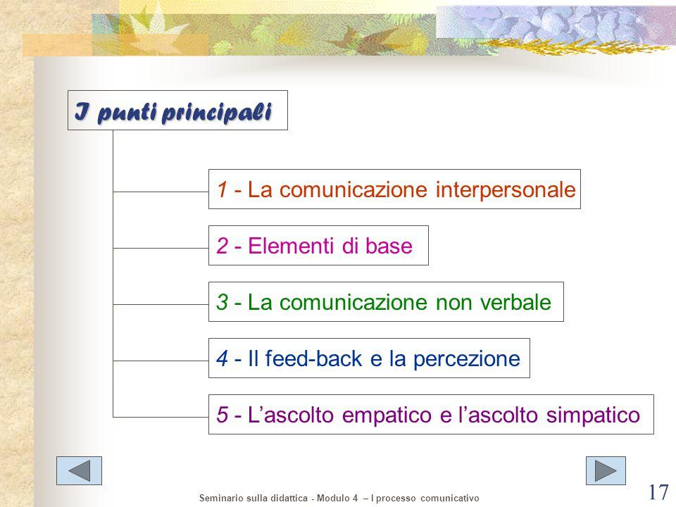 I punti principali 1 - La comunicazione interpersonale