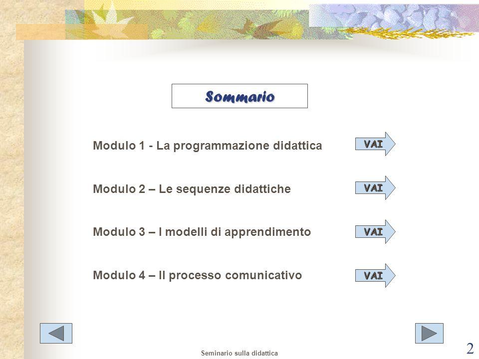 Sommario Modulo 1 - La programmazione didattica