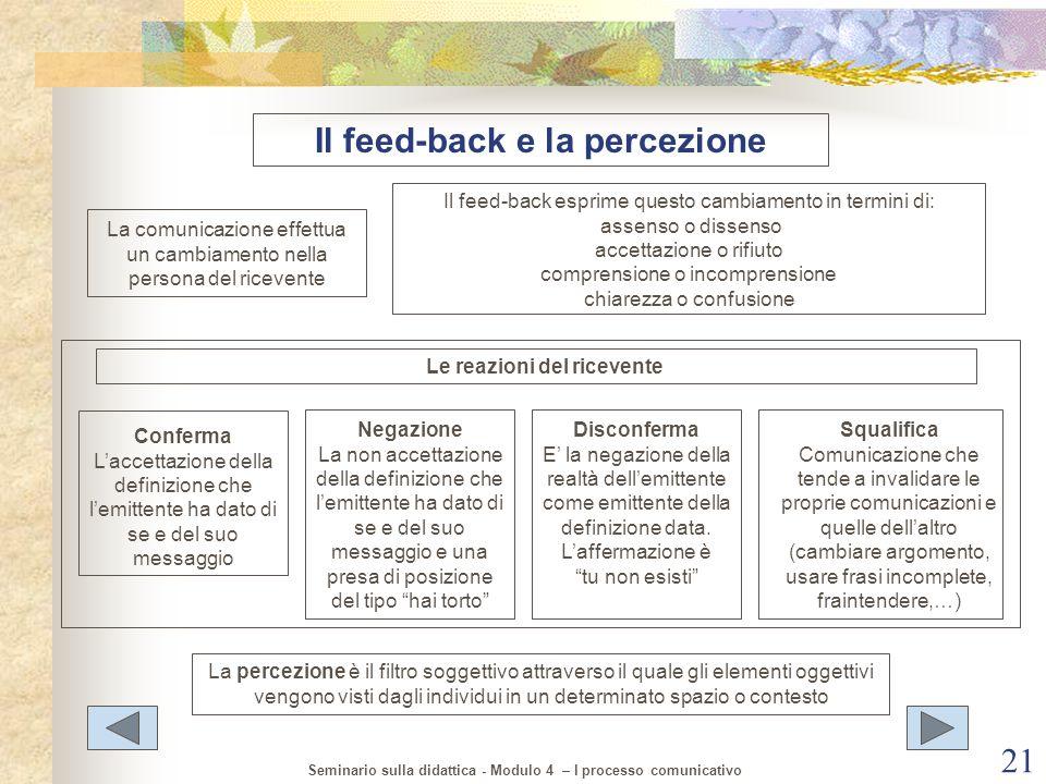 Il feed-back e la percezione