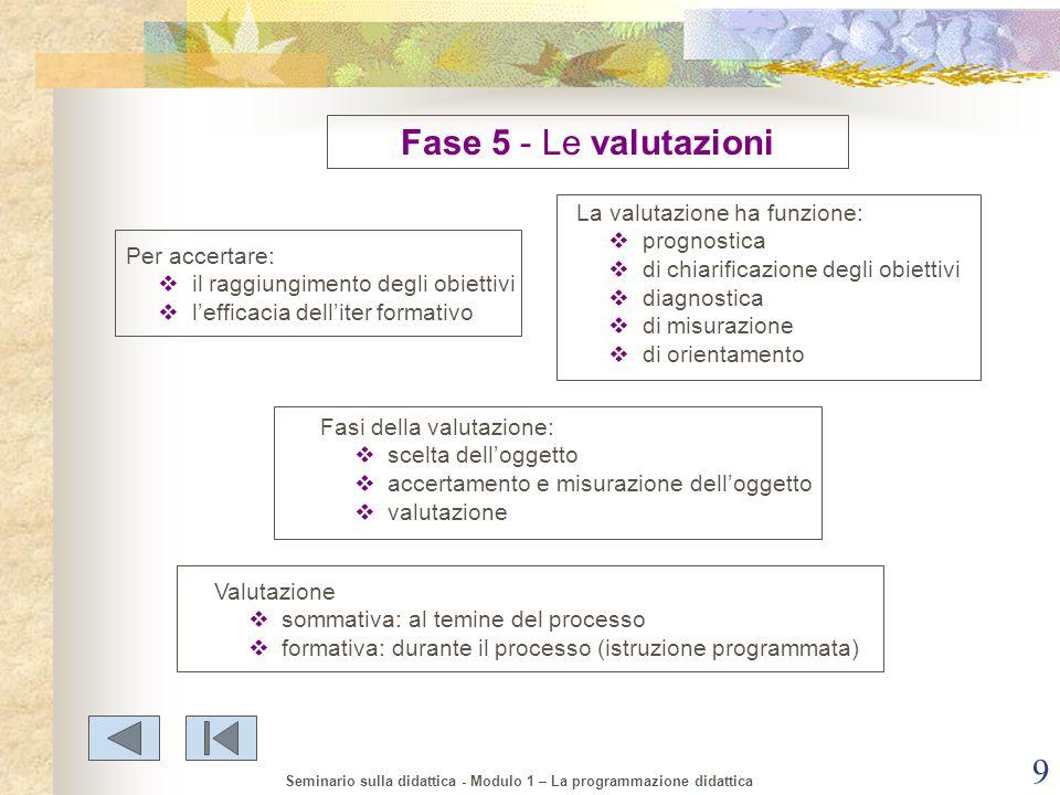 Fase 5 - Le valutazioni La valutazione ha funzione: prognostica