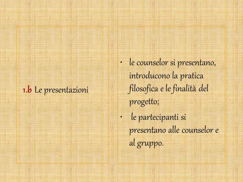 1.b Le presentazioni le counselor si presentano, introducono la pratica filosofica e le finalità del progetto;