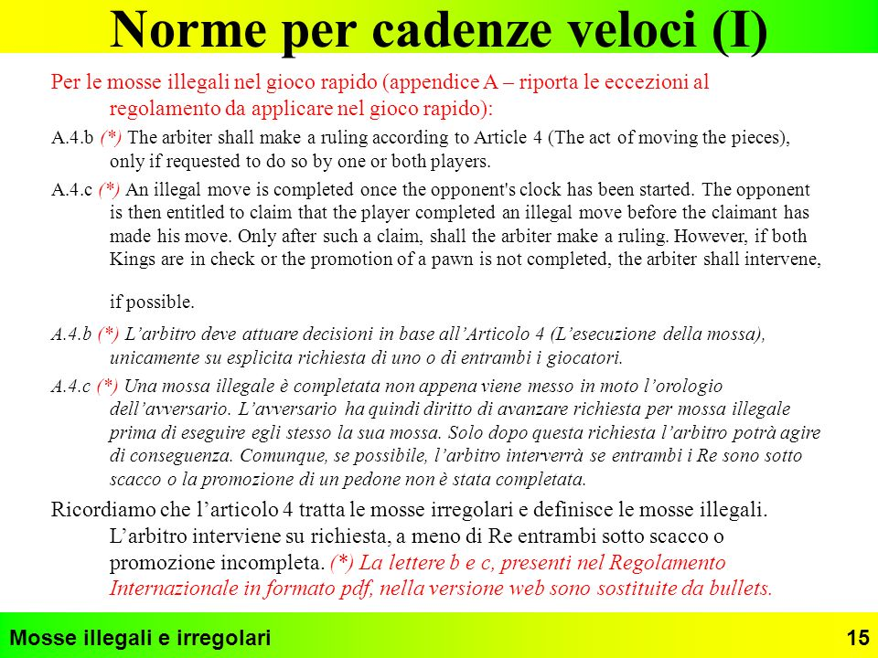 Norme per cadenze veloci (I)