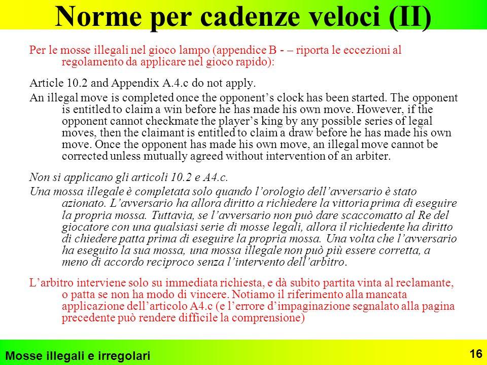 Norme per cadenze veloci (II)