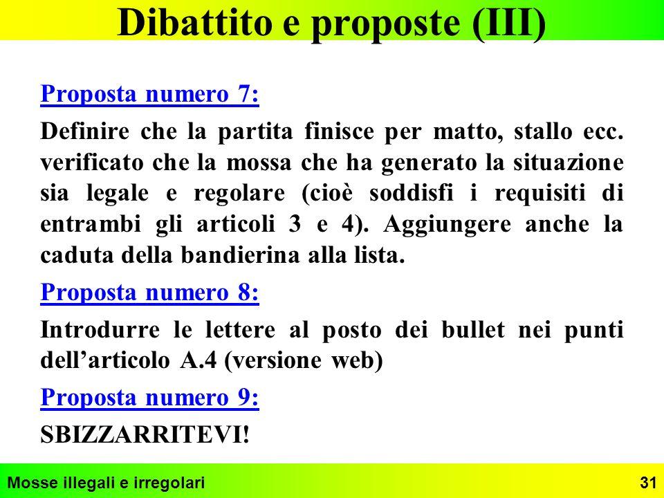 Dibattito e proposte (III)