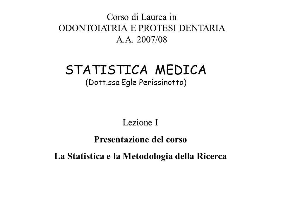 Presentazione del corso La Statistica e la Metodologia della Ricerca