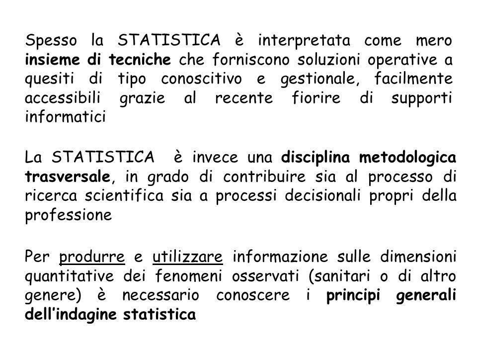 Spesso la STATISTICA è interpretata come mero insieme di tecniche che forniscono soluzioni operative a quesiti di tipo conoscitivo e gestionale, facilmente accessibili grazie al recente fiorire di supporti informatici