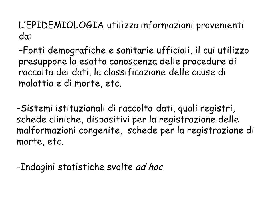 L'EPIDEMIOLOGIA utilizza informazioni provenienti da: