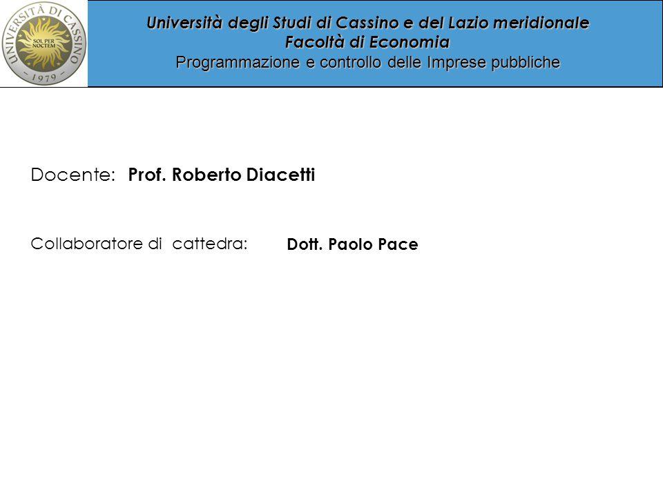 Docente: Prof. Roberto Diacetti Collaboratore di cattedra: