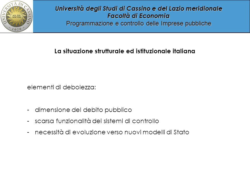 La situazione strutturale ed istituzionale italiana