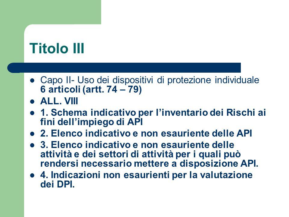Titolo III Capo II- Uso dei dispositivi di protezione individuale 6 articoli (artt. 74 – 79) ALL. VIII.