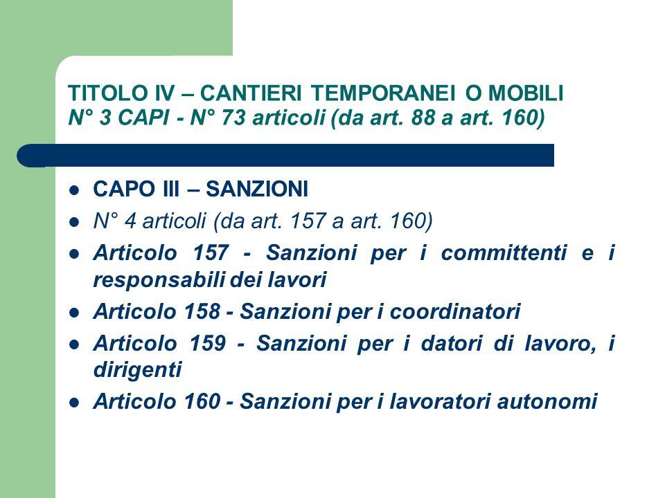TITOLO IV – CANTIERI TEMPORANEI O MOBILI N° 3 CAPI - N° 73 articoli (da art. 88 a art. 160)