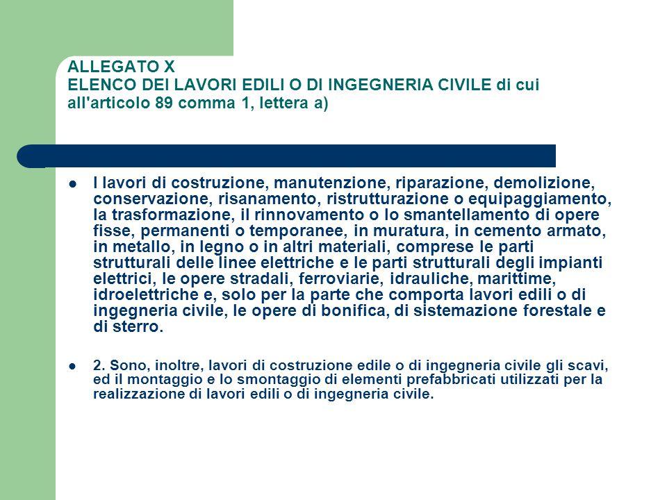 ALLEGATO X ELENCO DEI LAVORI EDILI O DI INGEGNERIA CIVILE di cui all articolo 89 comma 1, lettera a)