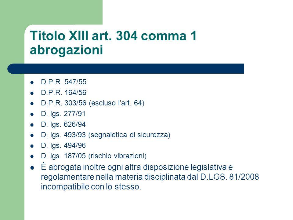 Titolo XIII art. 304 comma 1 abrogazioni