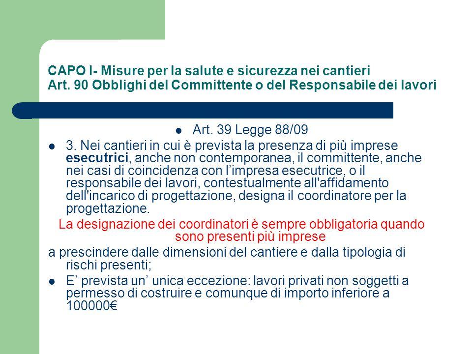 CAPO I- Misure per la salute e sicurezza nei cantieri Art