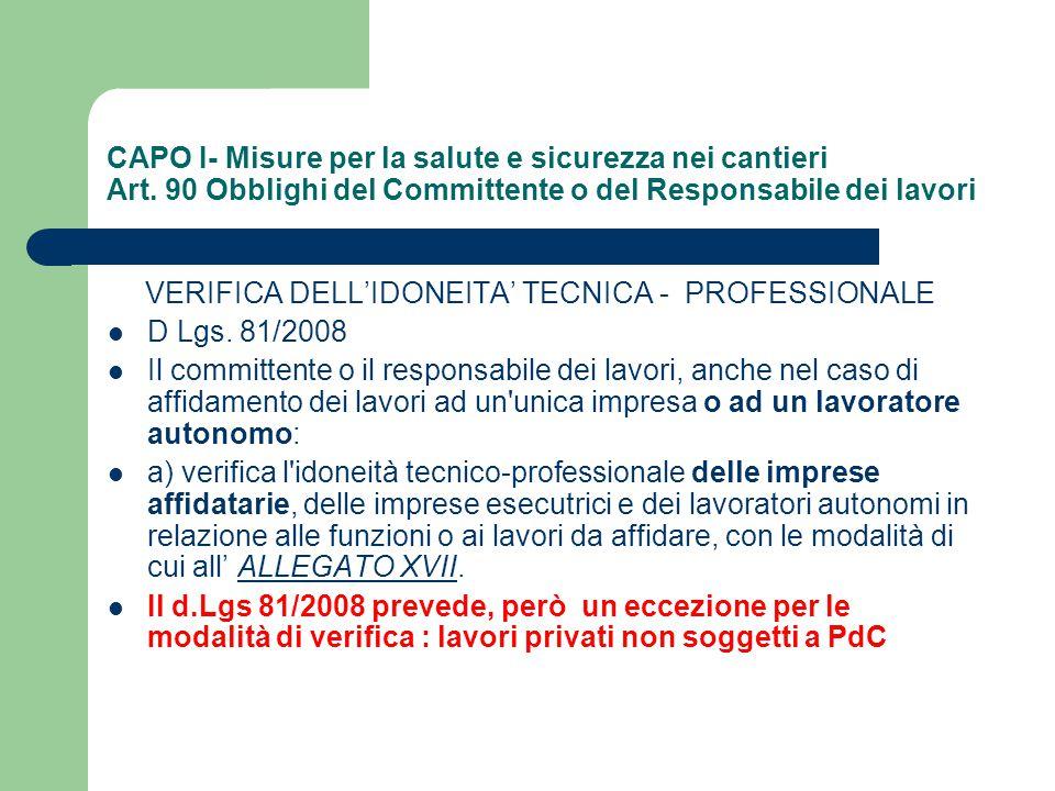VERIFICA DELL'IDONEITA' TECNICA - PROFESSIONALE