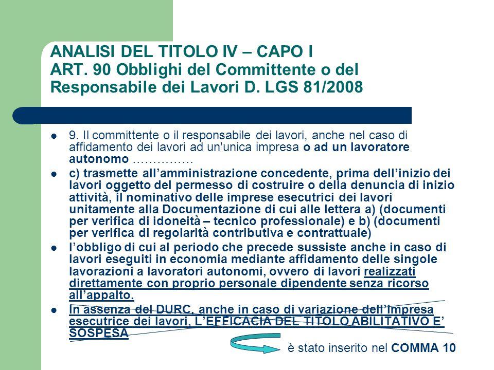 ANALISI DEL TITOLO IV – CAPO I ART
