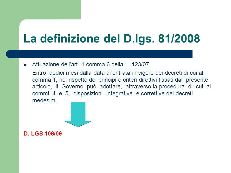 La definizione del D.lgs. 81/2008