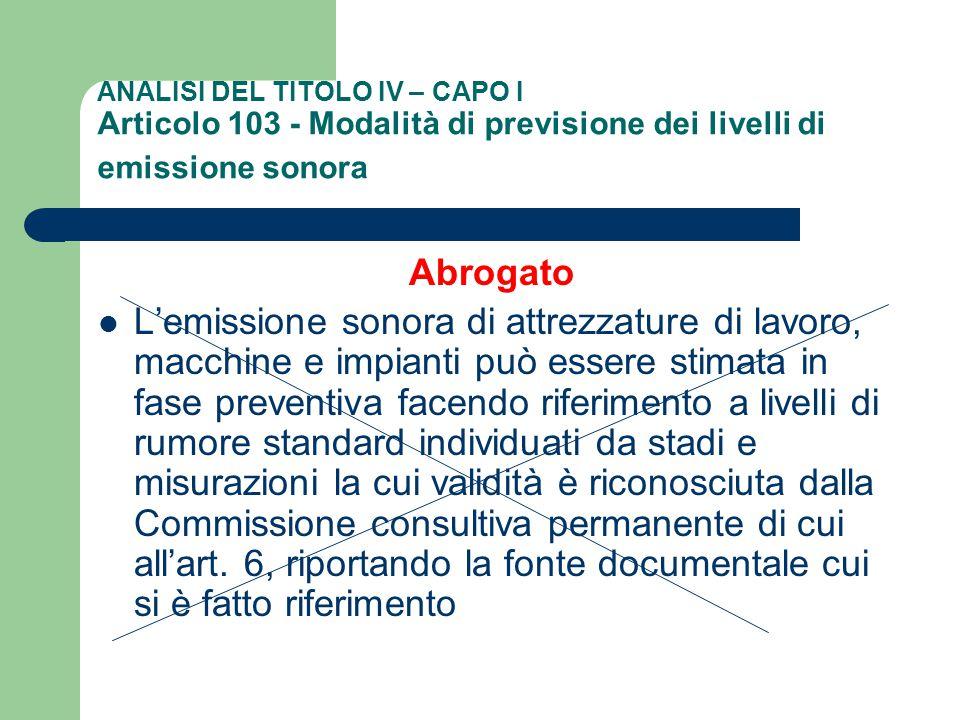 ANALISI DEL TITOLO IV – CAPO I Articolo 103 - Modalità di previsione dei livelli di emissione sonora