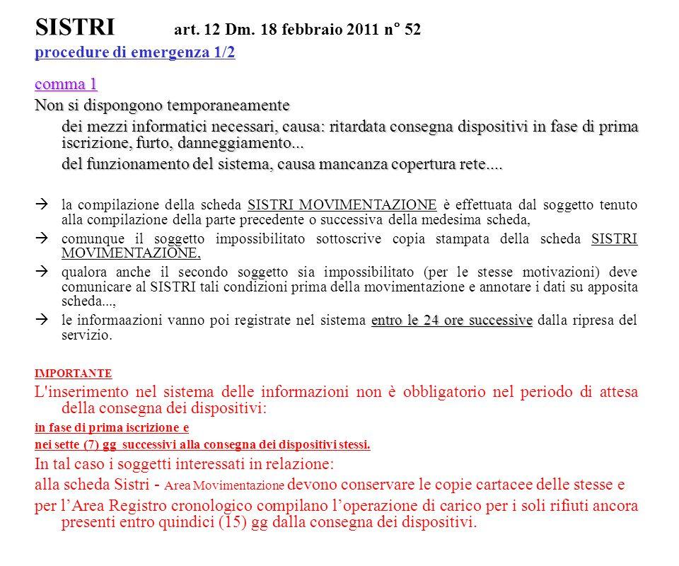 SISTRI art. 12 Dm. 18 febbraio 2011 n° 52