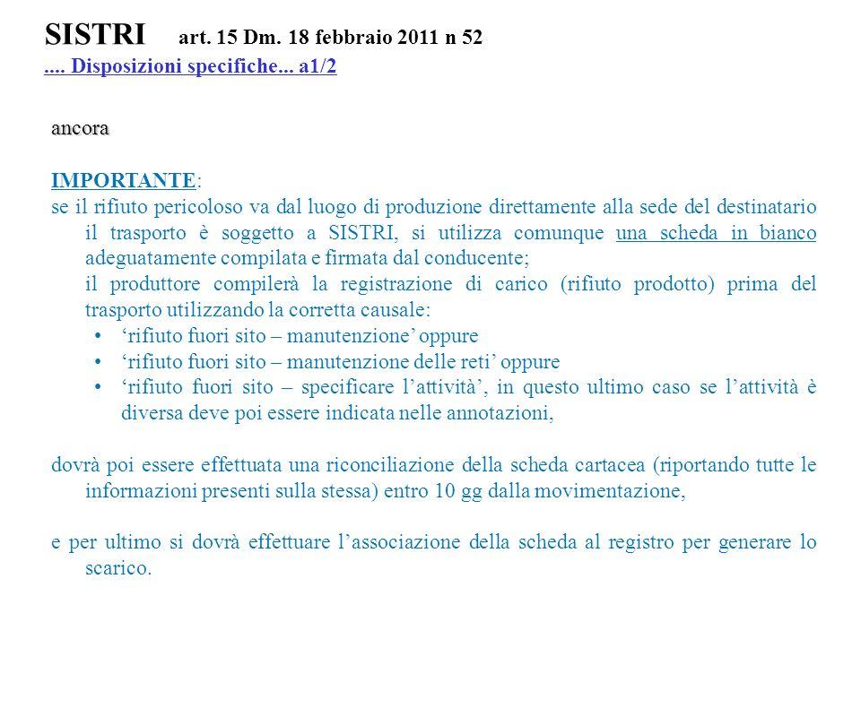 SISTRI art. 15 Dm. 18 febbraio 2011 n 52