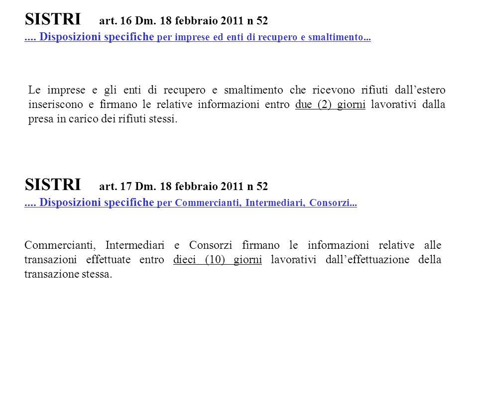 SISTRI art. 16 Dm. 18 febbraio 2011 n 52