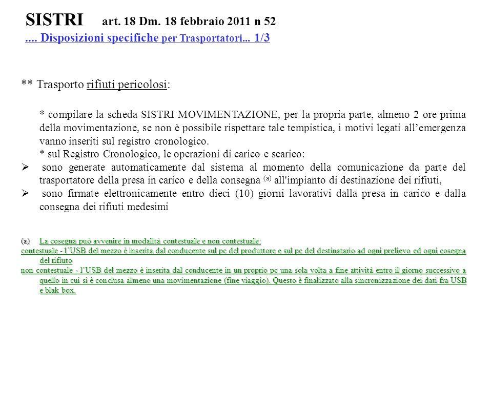 SISTRI art. 18 Dm. 18 febbraio 2011 n 52