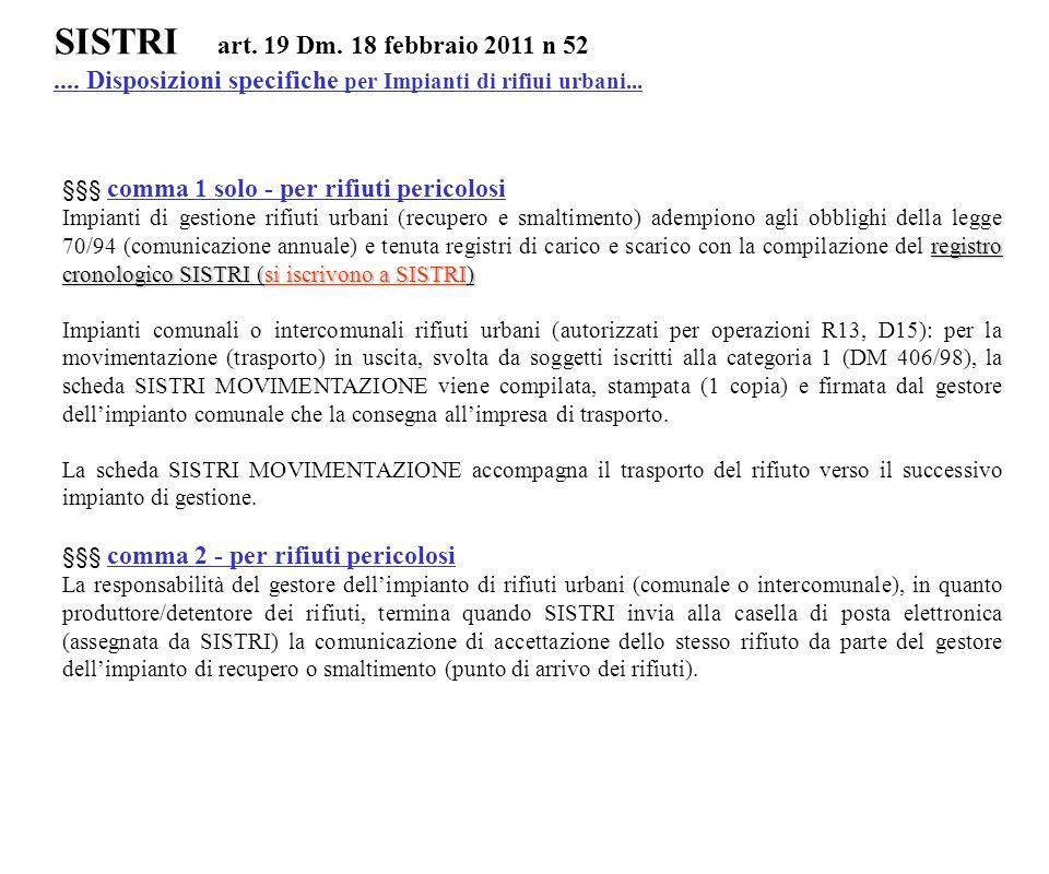 SISTRI art. 19 Dm. 18 febbraio 2011 n 52