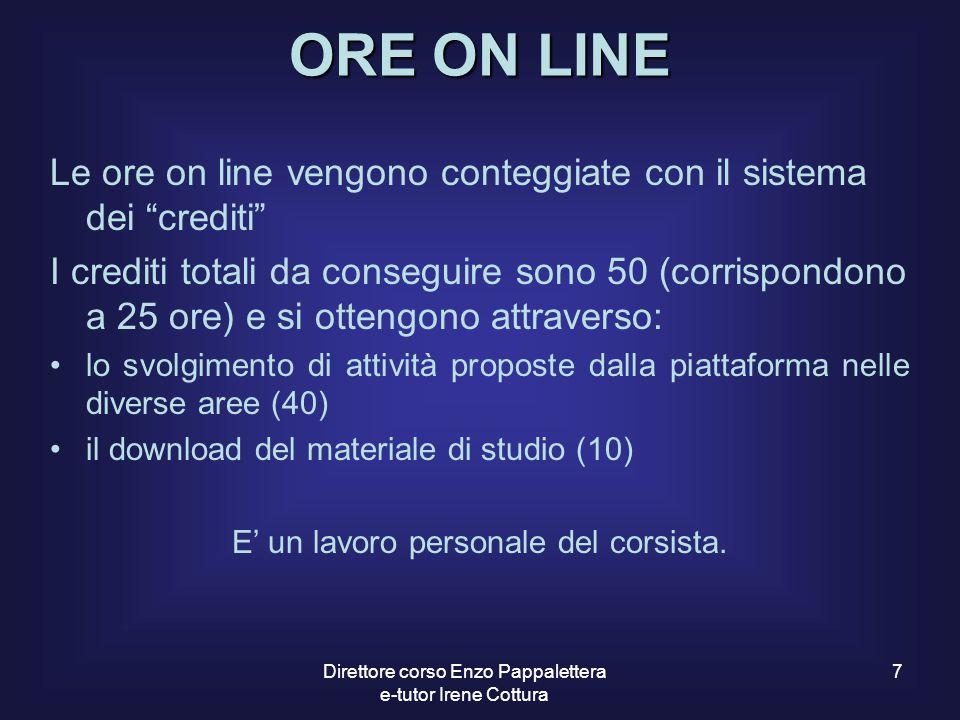 ORE ON LINE Le ore on line vengono conteggiate con il sistema dei crediti