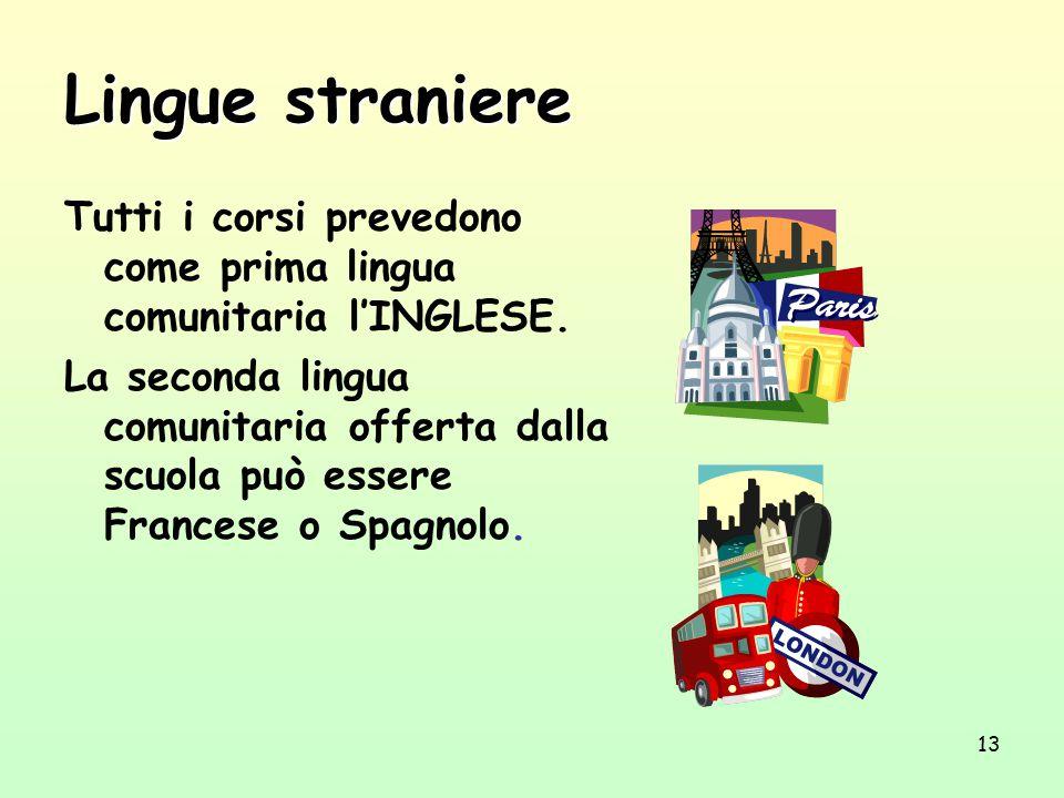 Lingue straniere Tutti i corsi prevedono come prima lingua comunitaria l'INGLESE.
