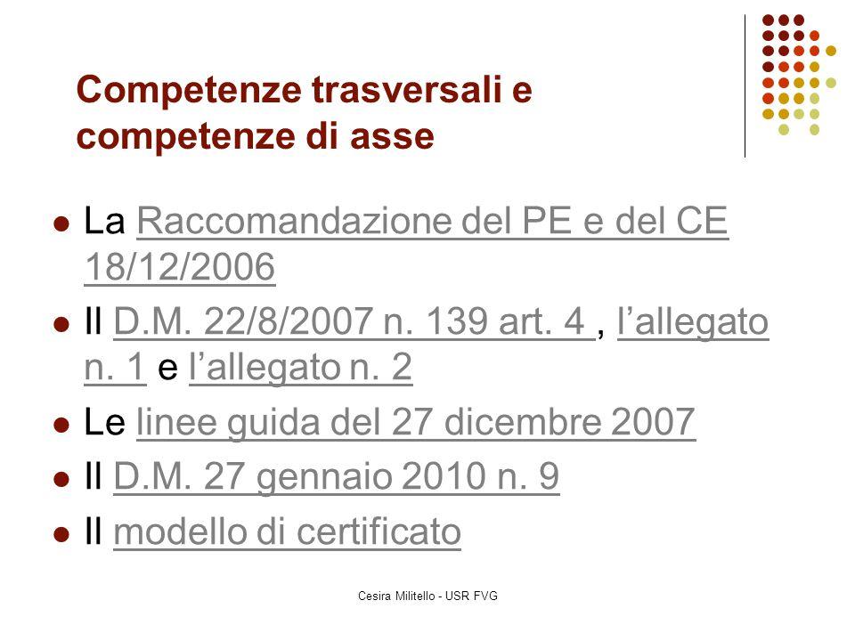 Competenze trasversali e competenze di asse