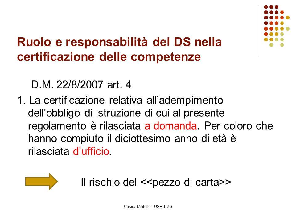 Ruolo e responsabilità del DS nella certificazione delle competenze