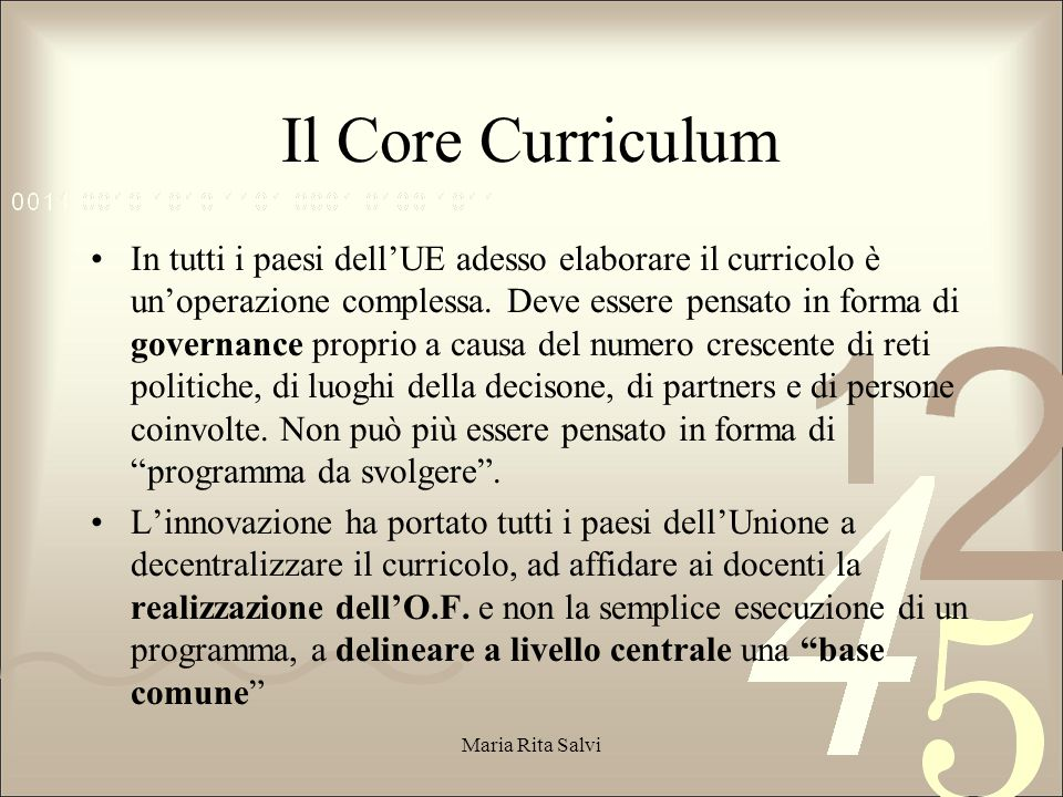 Il Core Curriculum
