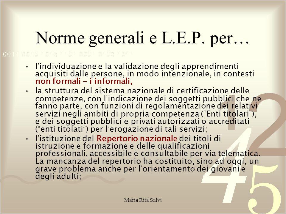 Norme generali e L.E.P. per…