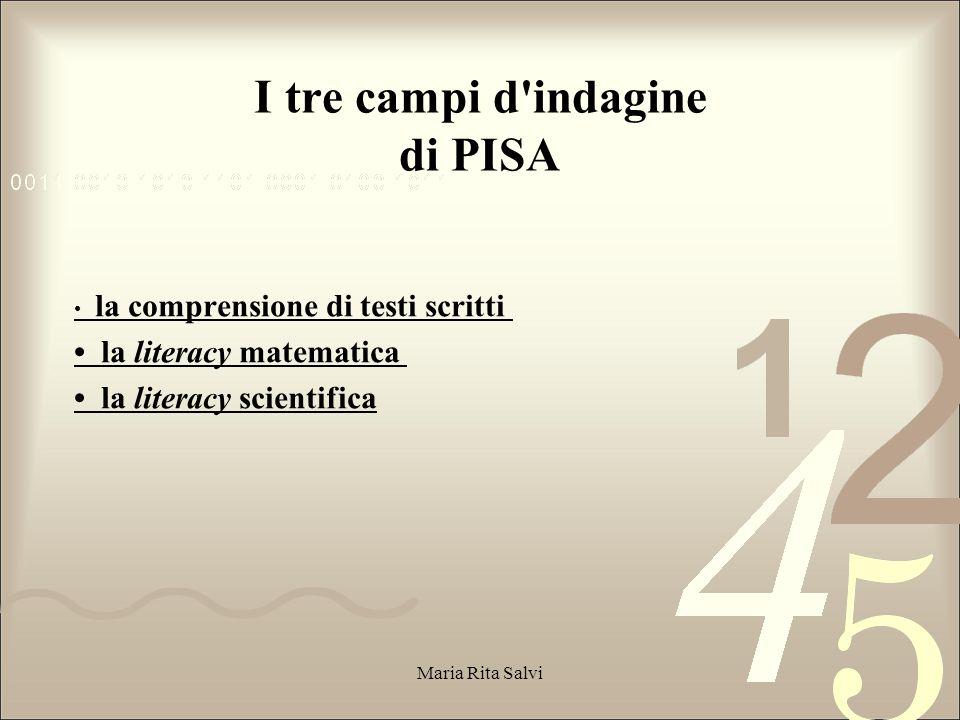 I tre campi d indagine di PISA
