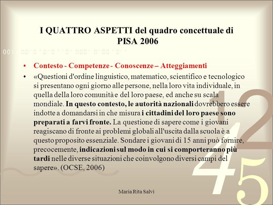 I QUATTRO ASPETTI del quadro concettuale di PISA 2006
