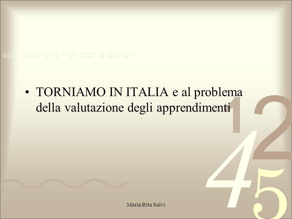 TORNIAMO IN ITALIA e al problema della valutazione degli apprendimenti