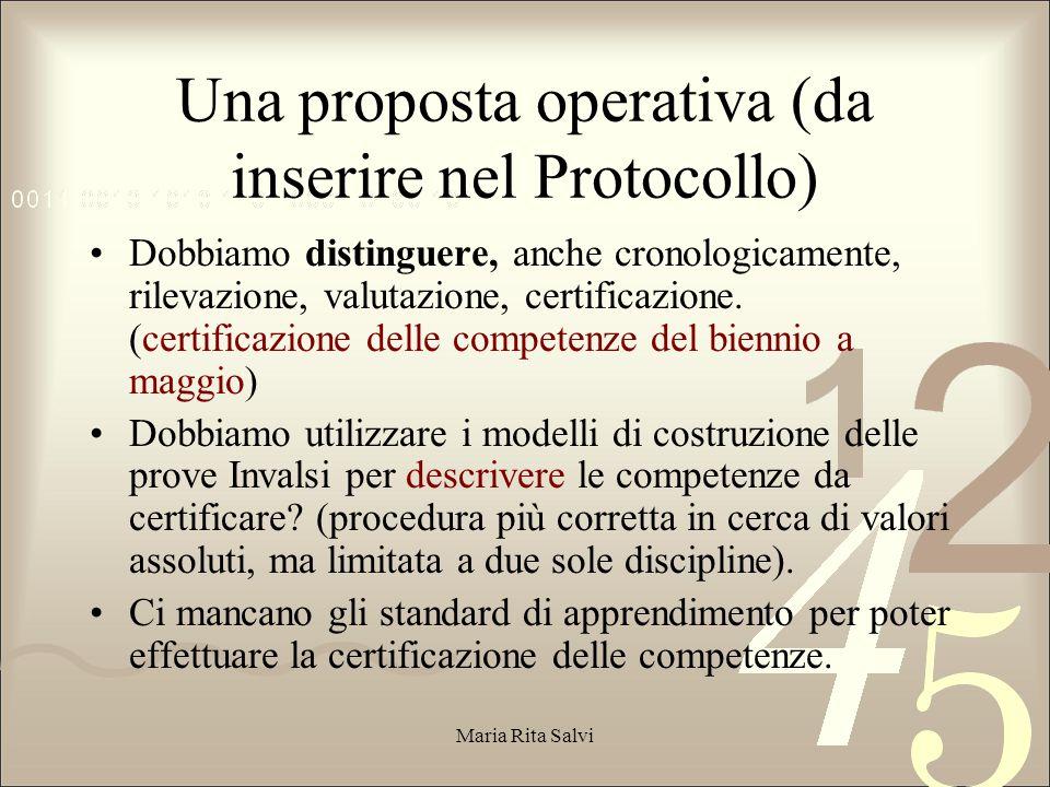 Una proposta operativa (da inserire nel Protocollo)