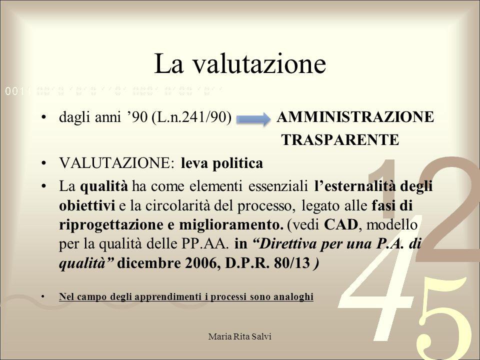 La valutazione dagli anni '90 (L.n.241/90) AMMINISTRAZIONE TRASPARENTE