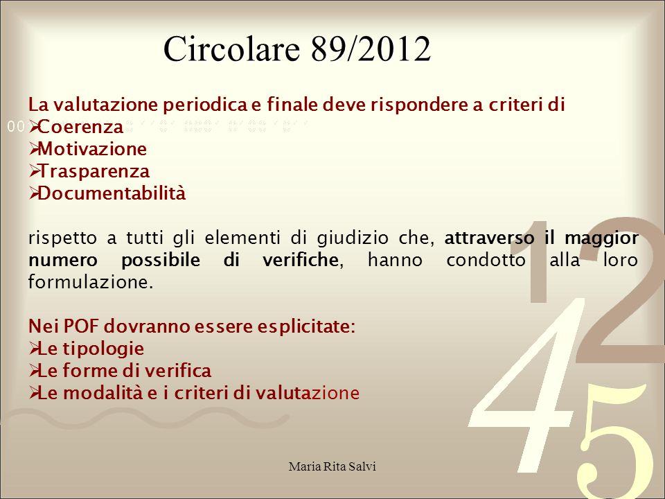 Circolare 89/2012 La valutazione periodica e finale deve rispondere a criteri di. Coerenza. Motivazione.