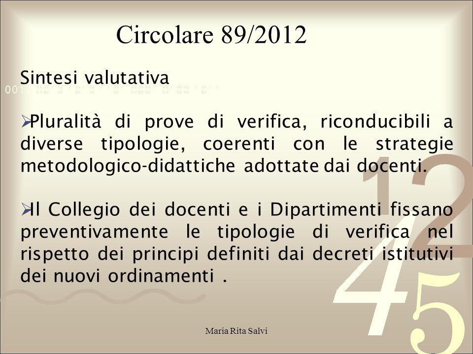 Circolare 89/2012 Sintesi valutativa