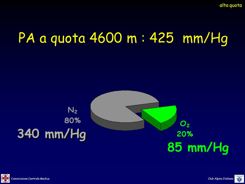 alta quota PA a quota 4600 m : 425 mm/Hg 340 mm/Hg 85 mm/Hg