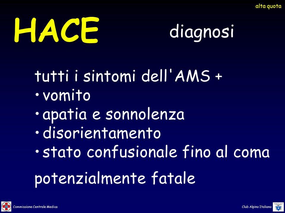 HACE diagnosi tutti i sintomi dell AMS + vomito apatia e sonnolenza