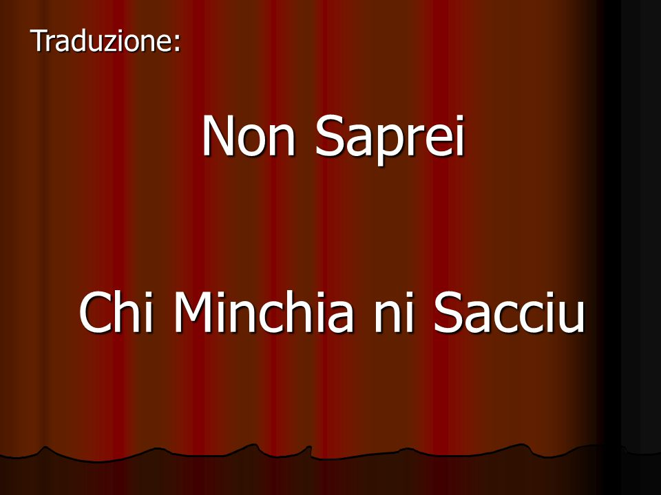 Traduzione: Non Saprei Chi Minchia ni Sacciu