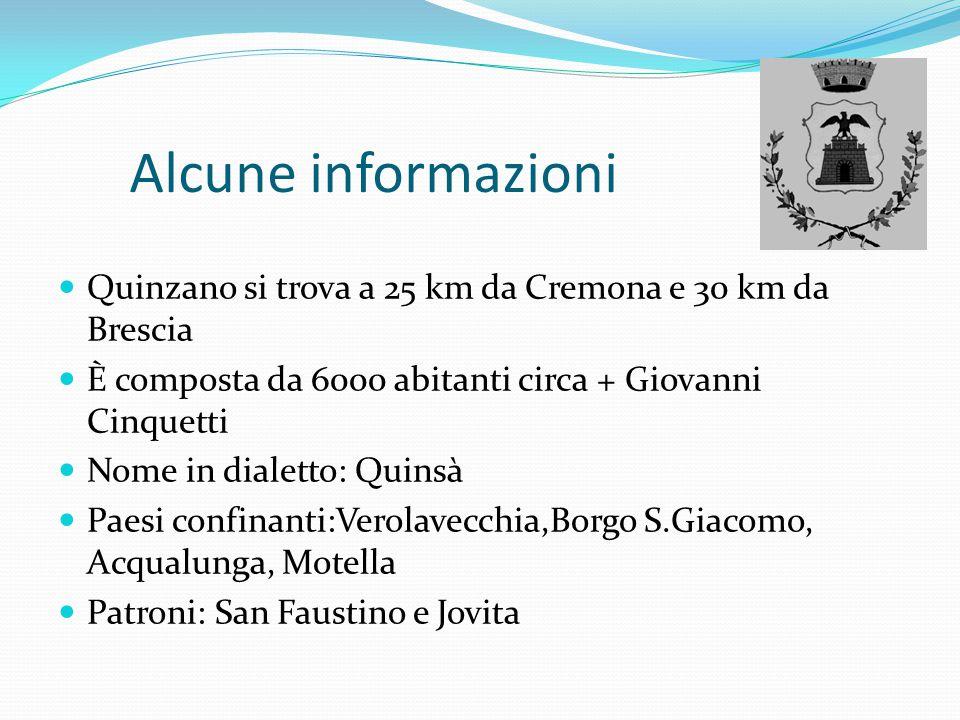 Alcune informazioni Quinzano si trova a 25 km da Cremona e 30 km da Brescia. È composta da 6000 abitanti circa + Giovanni Cinquetti.