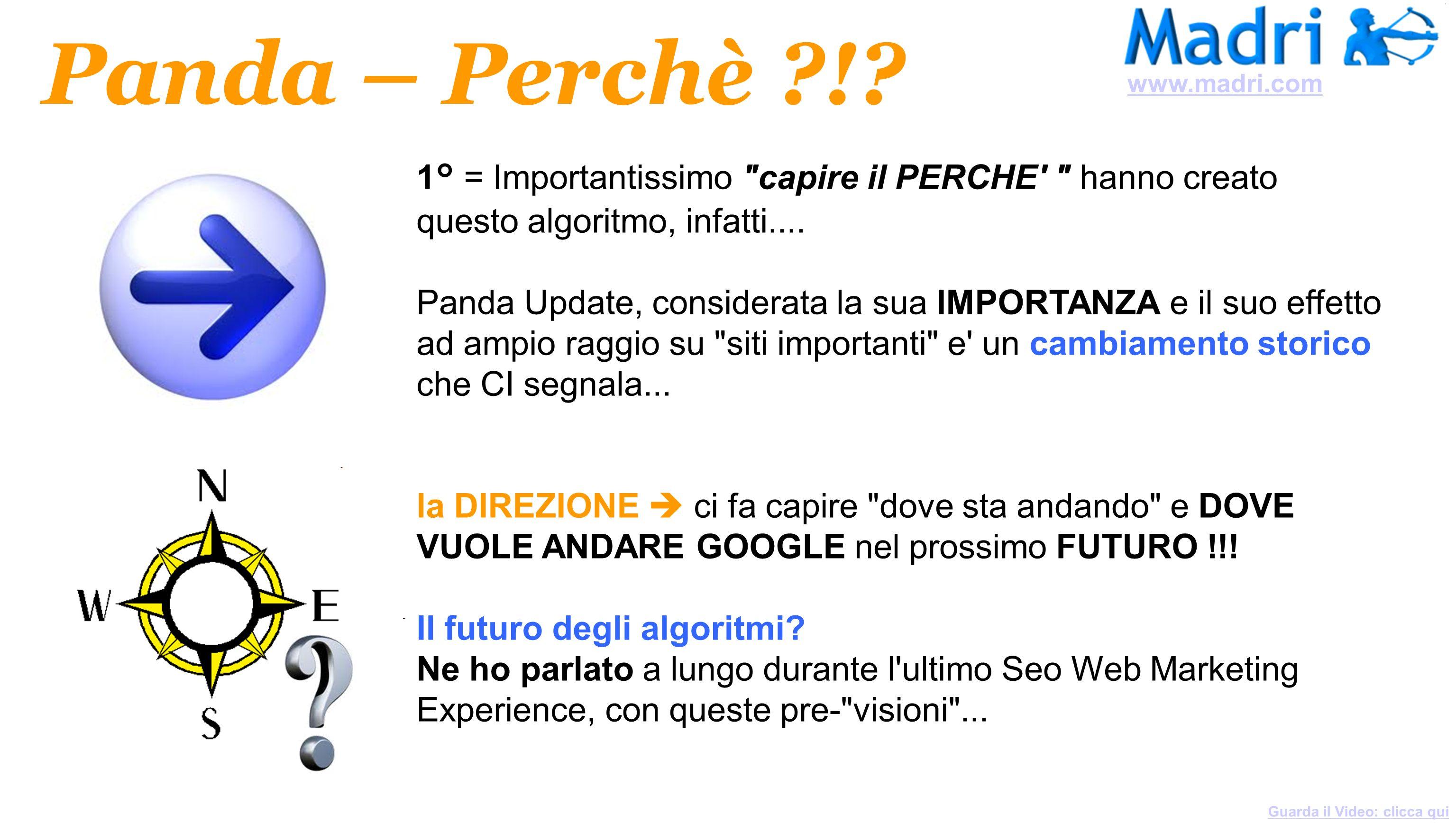 www.madri.com Panda – Perchè ! 1° = Importantissimo capire il PERCHE hanno creato questo algoritmo, infatti....