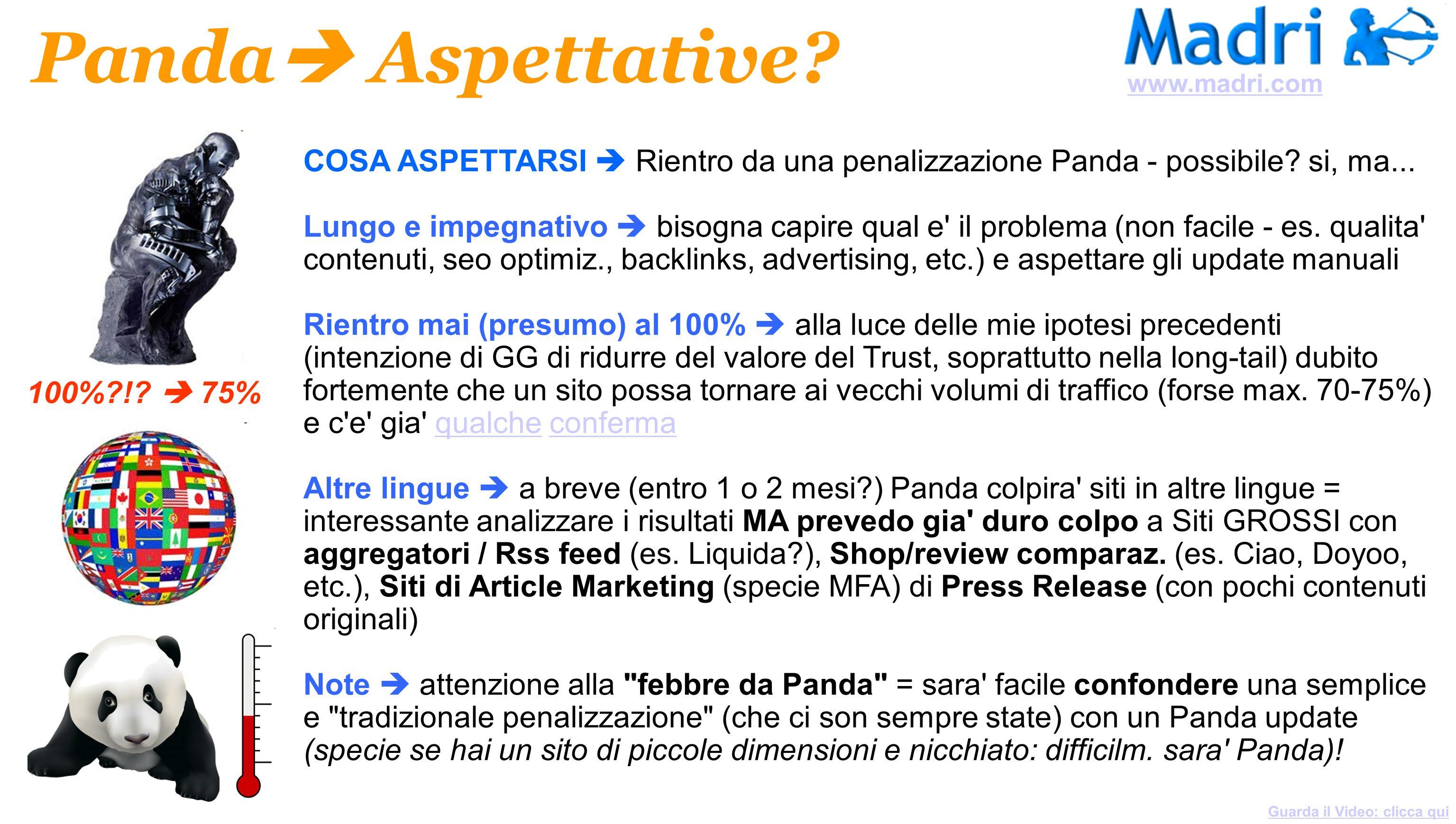 www.madri.com Panda Aspettative COSA ASPETTARSI  Rientro da una penalizzazione Panda - possibile si, ma...