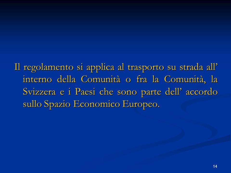 Il regolamento si applica al trasporto su strada all' interno della Comunità o fra la Comunità, la Svizzera e i Paesi che sono parte dell' accordo sullo Spazio Economico Europeo.