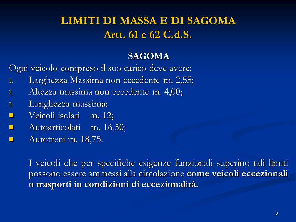 LIMITI DI MASSA E DI SAGOMA Artt. 61 e 62 C.d.S.