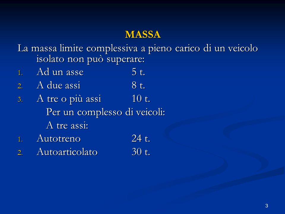 MASSA La massa limite complessiva a pieno carico di un veicolo isolato non può superare: Ad un asse 5 t.
